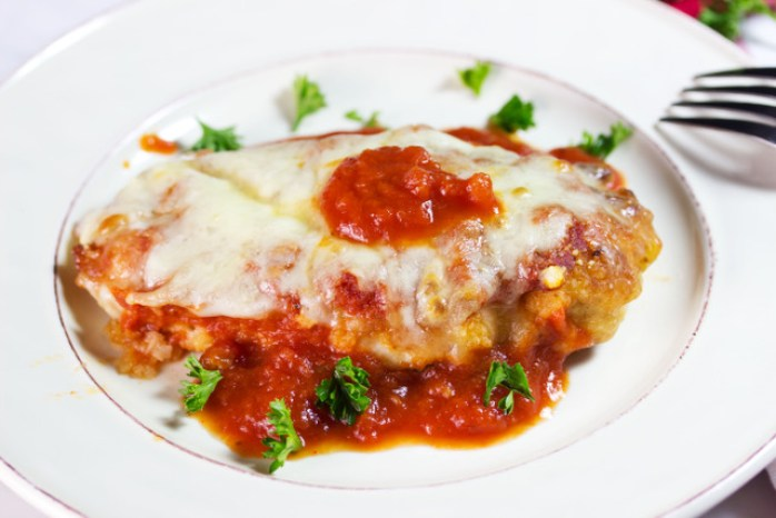 gluten free chicken parmigiana on a plate