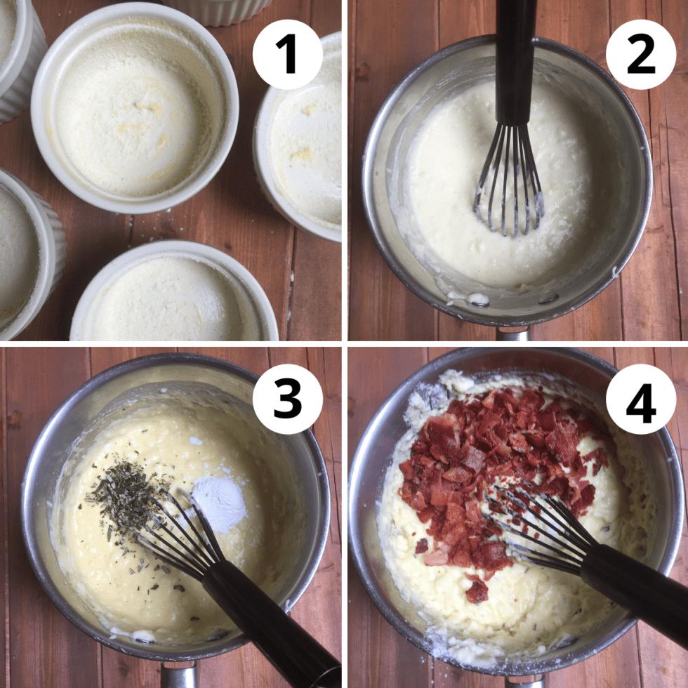 prepare ramekins and cook cornmeal