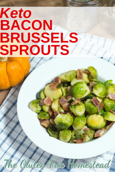Best, easy sautéed keto bacon Brussels sprouts is a healthy stovetop recipe. It makes a delicious side dish for your Thanksgiving and Christmas dinner. by Gluten Free Homestead low-carb, keto, Paleo, gluten free #ketobaconbrusselssprouts #glutenfree #paleo #lowcarb