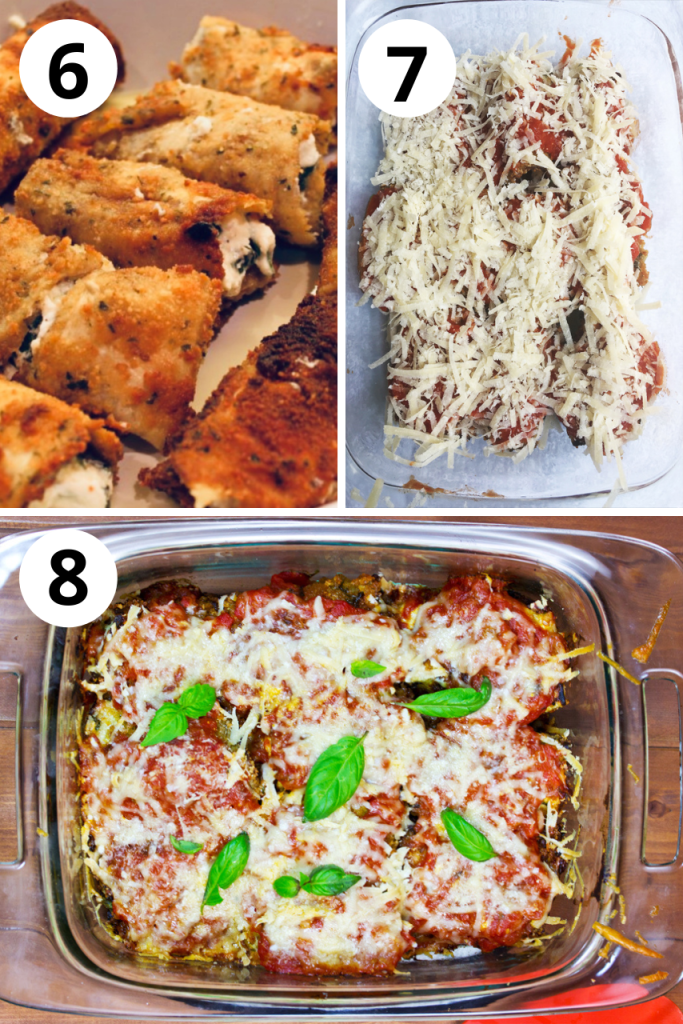 stuff rollatini, cover with sauce and parmesan, and bake