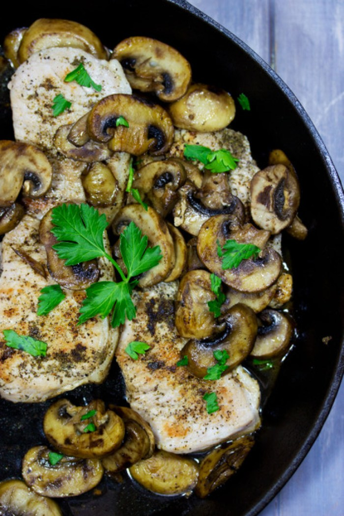 Gluten Free Pork Marsala in a cast iron skillet
