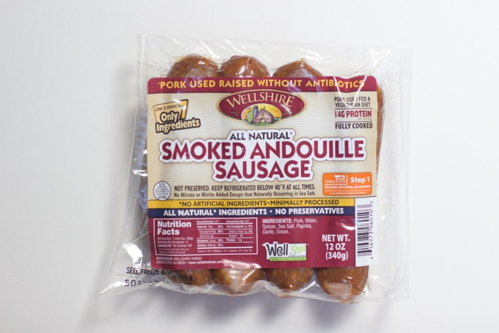 package of smoked andouille sausage