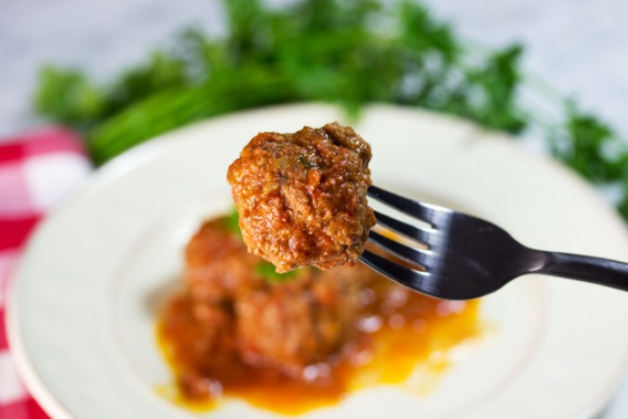 low carb meatball on a fork