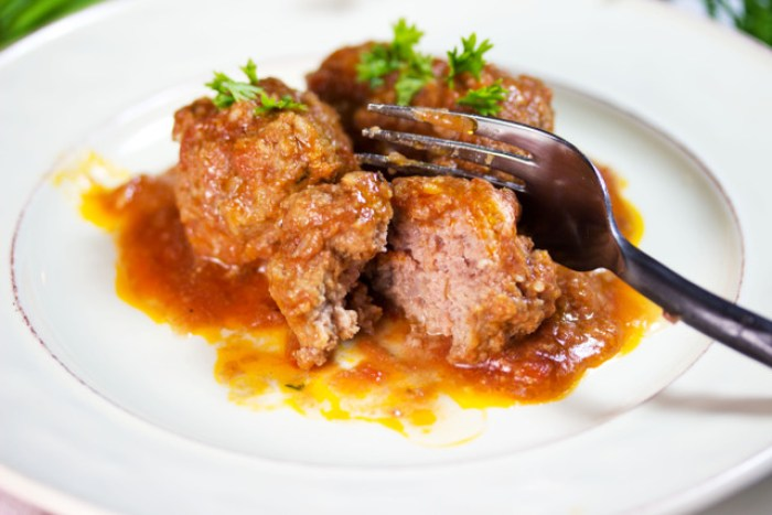 delicious low-carb meatballs cut with a fork