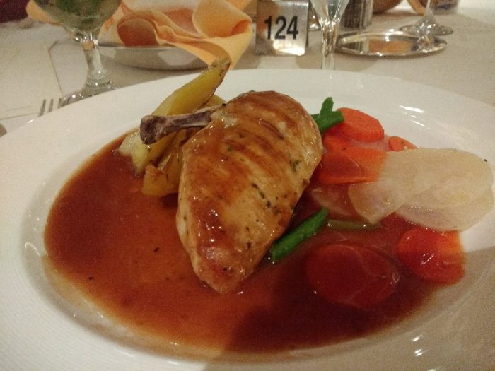 An example of dinner in the Pacific Moon dining room - chicken and vegetable with gluten free gravy.