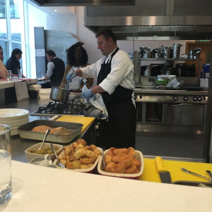 Our Christmas dinner being prepared in the Morrisons development kitchen