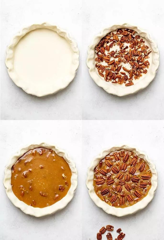 4 Bilder von gf Pekannusstorte, die mit einer nackten Kruste, Kruste mit Pekannussstücken, Füllung oben und dekorativen Pekannüssen oben fertig zum Backen hergestellt wird