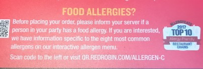Red Robin is one of the Top 20 AllergyEats Allergy-Friendly restaurant chains.