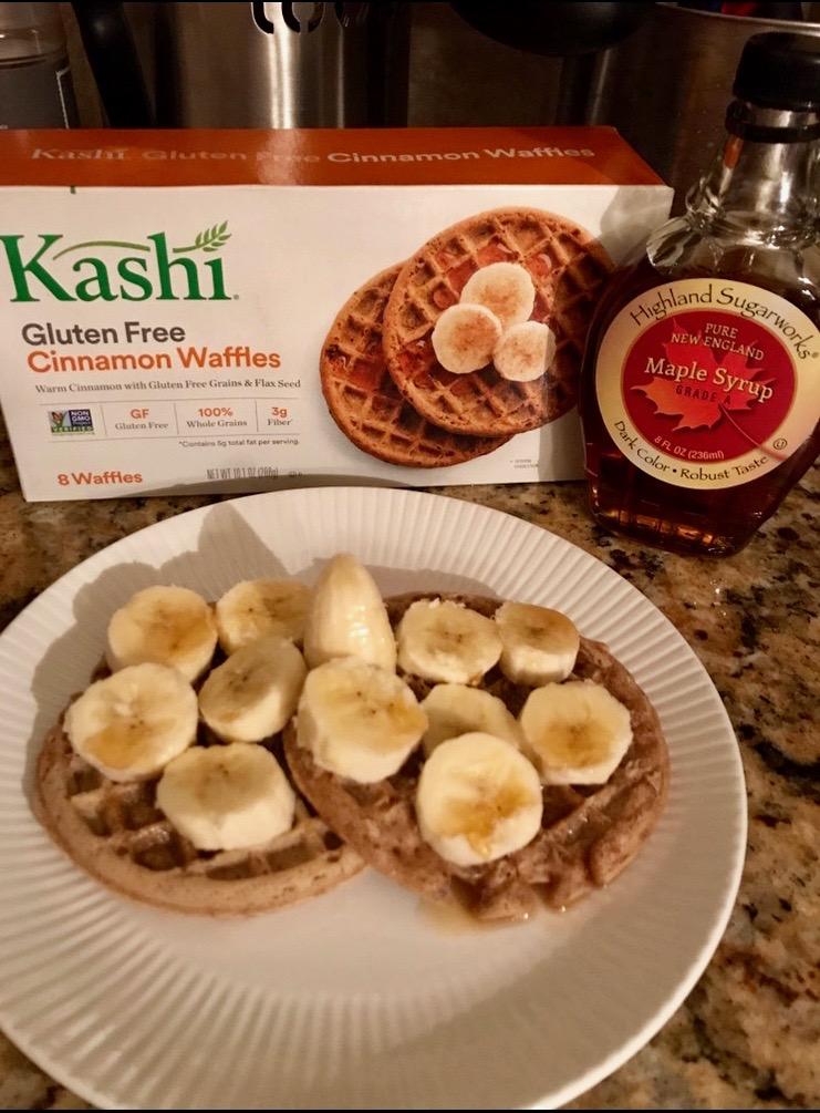 Kashi waffles and banana slices