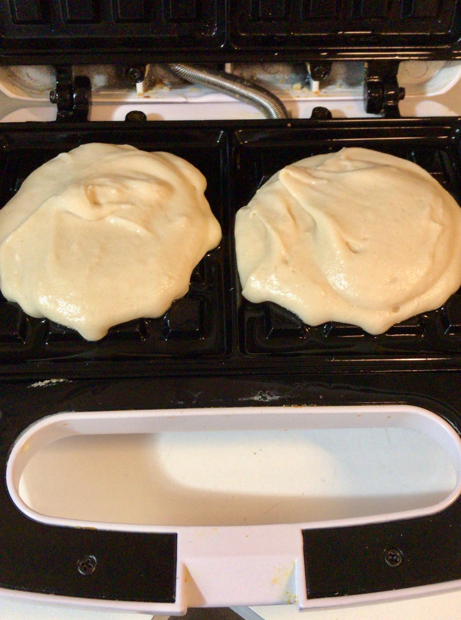 Waffle batter on waffle maker