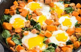 Gluten Free Sweet Potato Spinach Ham Eggs In Skillet