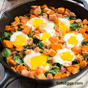 Gluten Free Sweet Potato Spinach Ham Eggs In Skillet