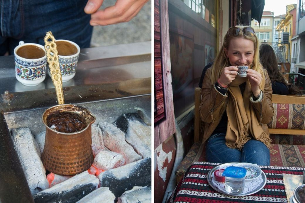 Kahve türkischer Kaffee in einem Café in Istanbul, Türkei