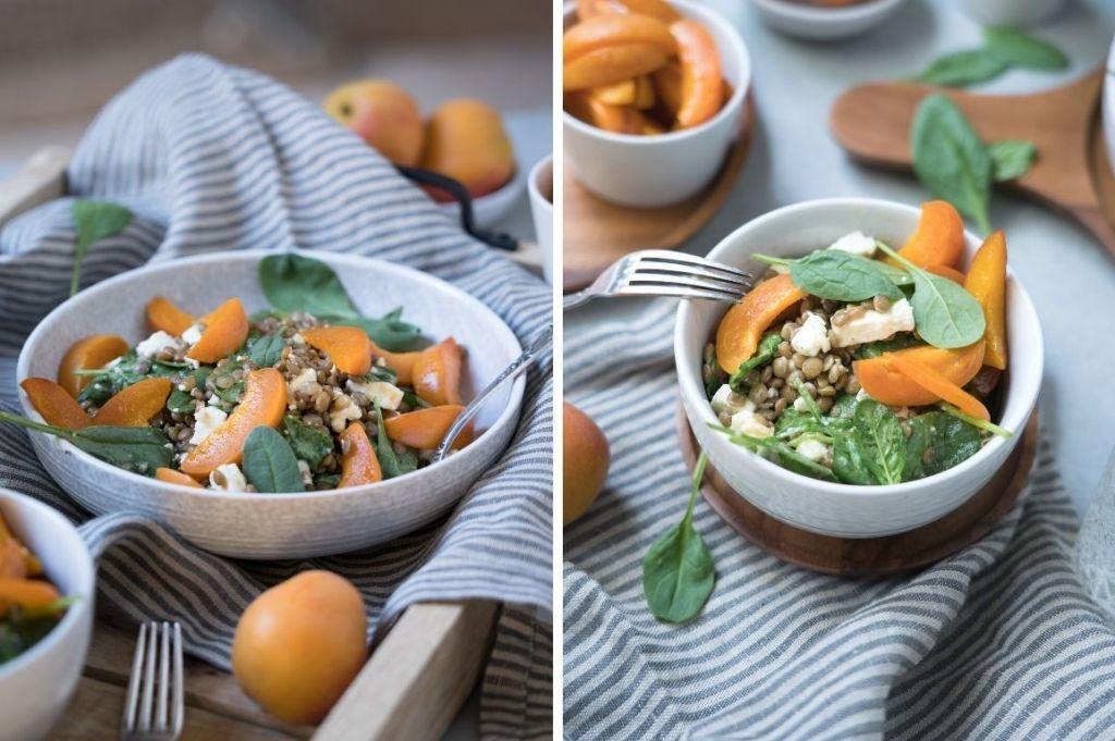 Linsensalat mit frischen Aprikosen schmeckt nach Sommer!