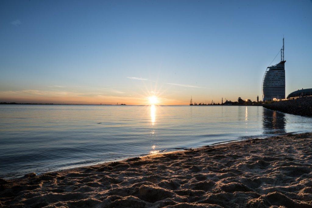 Sonnenuntergang am Westerstrand, Bremerhaven