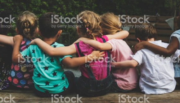 Friend group hug