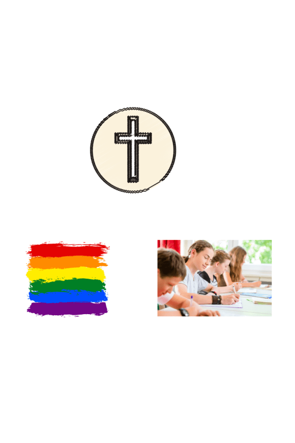 From top: Christian cross in circle, bottom right, school students taking exams, bottom left, LGBTQ pride flag