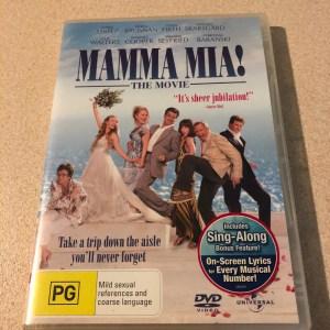 Mamma Mia DVD featuring L to R: Julie Waters as Rosie, Amanda Seyfried as Sophie, Meryl Streep as Donna, Pierce Brosnan as Sam, Christine Barinski as Tanya, Stellan Skarsgard as Sam and Collin Firth as Harry.