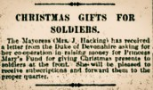 Appeal for contributions to the Princess Mary's Christmas Fund. The Bury Times November 4th 1914.