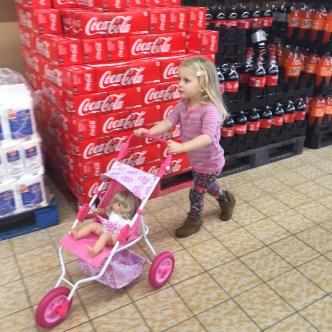 LJ pushing stroller