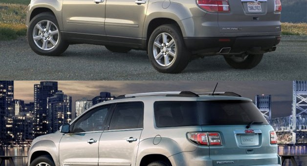 Side By Side The Rear Fascias Of The 2013 GMC Acadia And