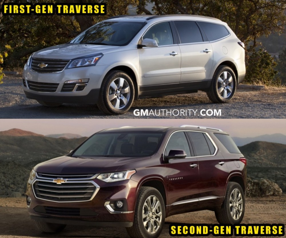 medium resolution of 2017 chevrolet traverse vs 2018 chevrolet traverse front three quarters angle