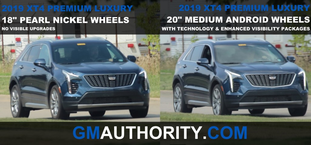 2019 Cadillac XT4 Premium Luxury - 18 inch Pearl Nickel Wheels vs 20 inch Medium Android Wheels - Front Three Quarters View