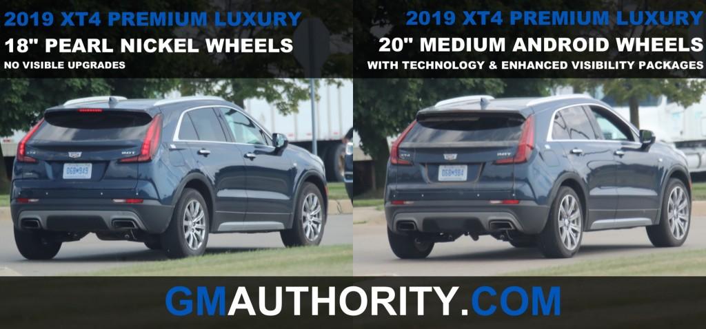2019 Cadillac XT4 Premium Luxury - 18 inch Pearl Nickel Wheels vs 20 inch Medium Android Wheels - Rear Three Quarters View