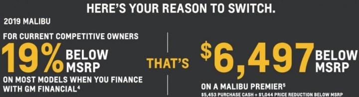2019 Chevrolet Malibu Incentive April 2019