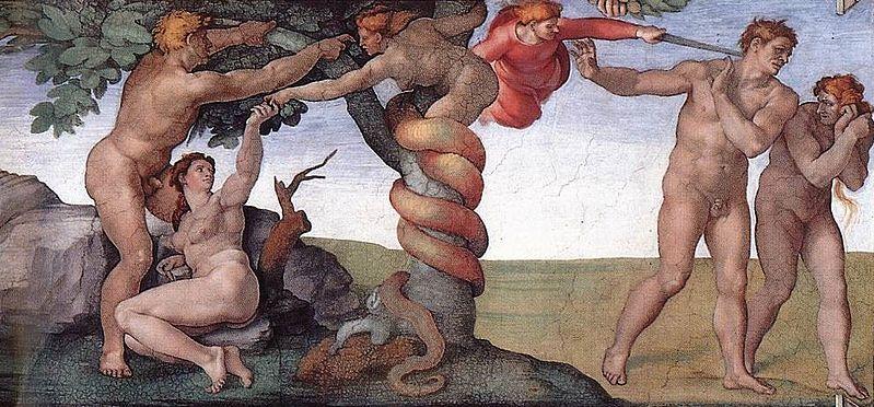 The Fall, Michelangelo, Public domain, via Wikimedia Commons