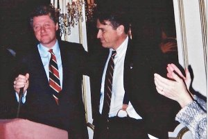 Presidential candidate Bill Clinton thanking friend David Mixner at ANGLE event in 1991 (Photo by Karen Ocamb)