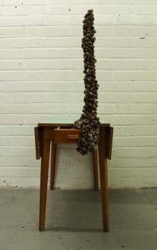 Marie Hannon_Table_Snail Shells and Old Table_76cmx154cmx52cm_2014