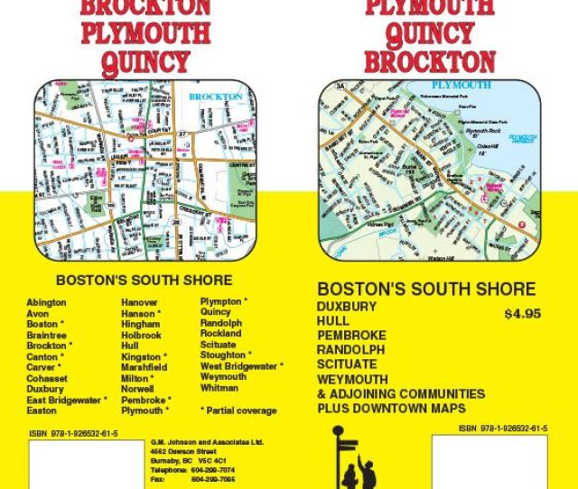 Plymouth Quincy Brockton Bostons South Shore Towns Massachusetts Street Map