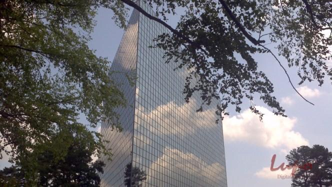 Building in Century Center, 21 June 2013. Taken with a Motorola camera phone.