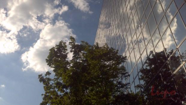 Building in Century Center, 19 September 2012. Taken with a Motorola camera phone.