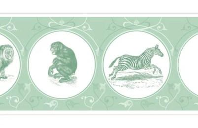 Tiergarten Afrika - die Tapetenborte mit Zebra, Löwe und Kakadu