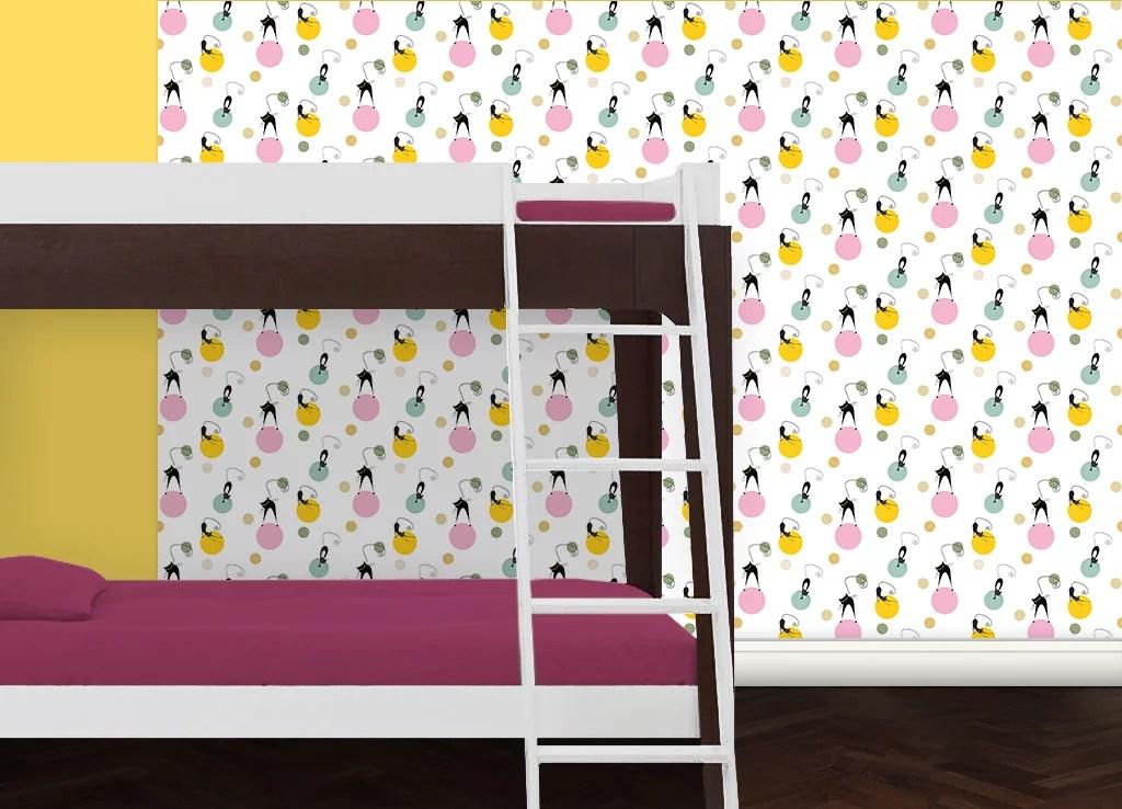 jugendzimmer tapete katzen polka gr flich m nster 39 sche. Black Bedroom Furniture Sets. Home Design Ideas