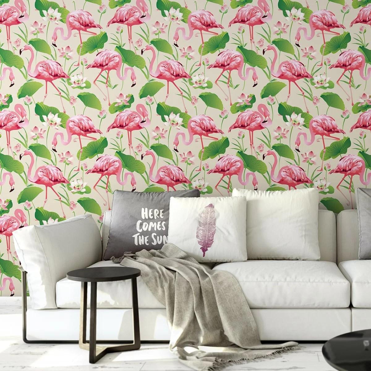 Extravagante Tapeten exotische tapete flamingo pool mit seerosen im extravaganten look