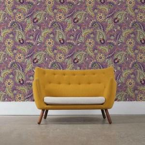 "Groß gemusterte lila Designer Tapete ""Classic Paisley"" mit dekorativem Blatt Muster angepasst an Ikea Wandfarben"