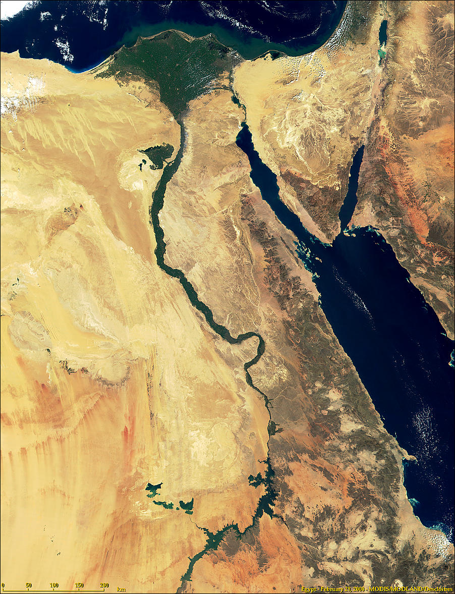 Egypt, Nile Delta, Nile River, Fayum Oasis and Lake Nassar from Terra/MODIS satellite 2000-08-10 (NASA)