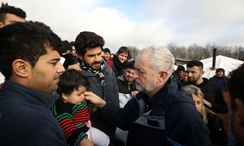Corbyn with refugees