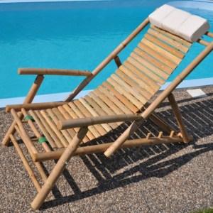 Bambusový nábytek -polohovací bambusové lehátko vyrobené z přírodního bambusu