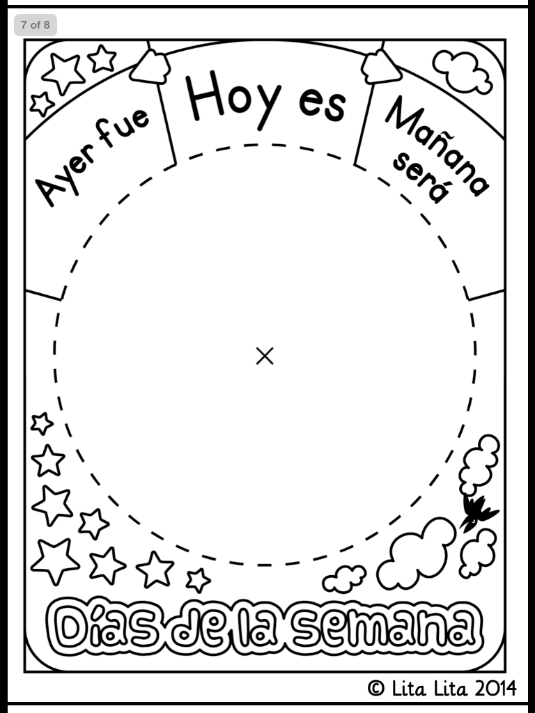 Days of the week wheel in Spanish « Mrs Taylor's School Blog