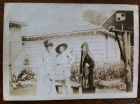 (left to right) Mary Brown, Audrey Lester, + Isabelle - in costume