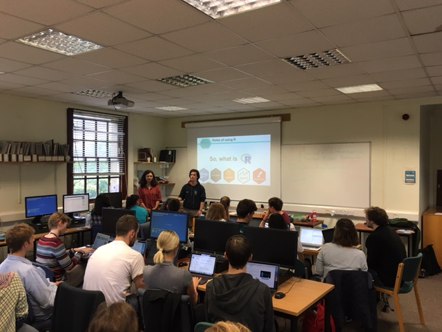 Sam and Claudia leading the Coding Club workshop
