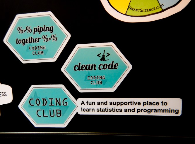 At Coding Club, we might be a bit too keen about laptop stickers, particularly if they are hexagon-shaped!