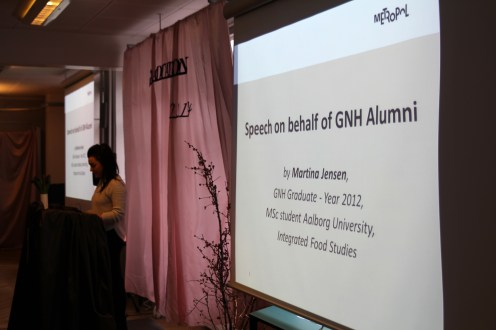 Martina talking to the new GNH graduates during the graduation ceremony in February 2014