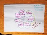 La Flor de la Permaculta segun David Holmgren. Los pétalos representan areas de civilización humana, el nucleo de la flor son los 12 principios y las 3 éticas de la permacultura.