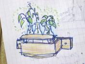 Concepto de macetero hecho de palet reciclado