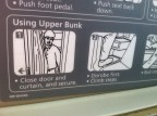 """""""Disrobe first."""" It makes sense; once you roll onto the top bunk, there is not much space to move around."""